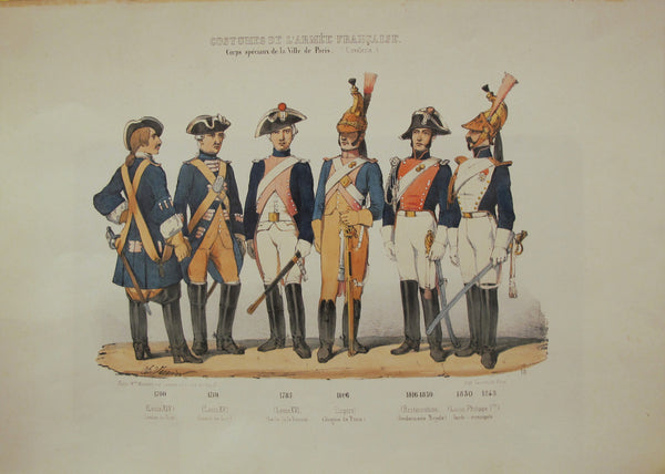 1850s Vintage French Military Costumes Sheet (Costumes de l'armee francaise)  - Charles Vernier