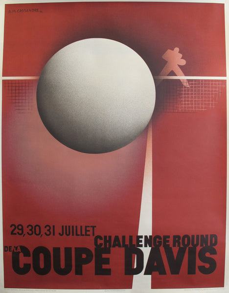 1982 Originally printed in 1932 - American Sports Poster - Challenge round - Davis Cup Tennis Competition (Re-issue) by A. M. Cassandre