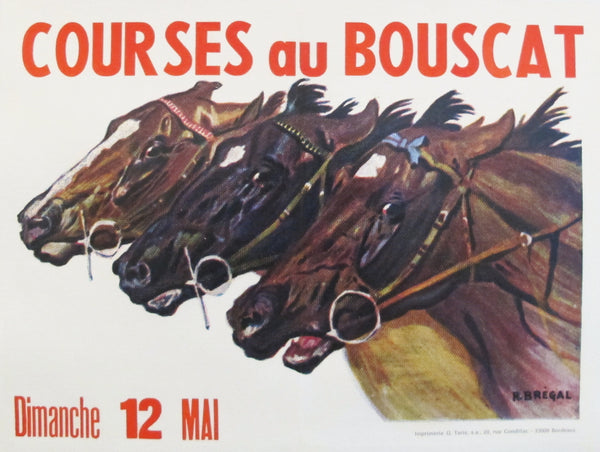 1970s French Horse Race Poster, Courses au Bouscat