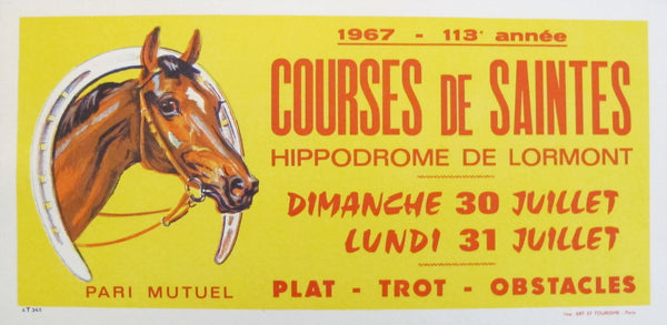 1967 French Horse Race Poster, Courses de Saintes