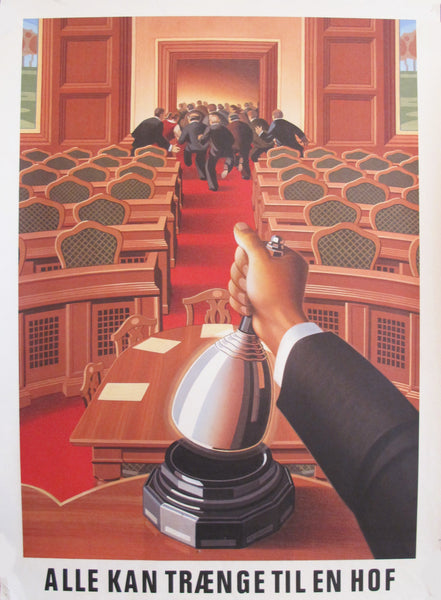 1980s Danish Carlsberg Beer Poster, Courtroom (small)