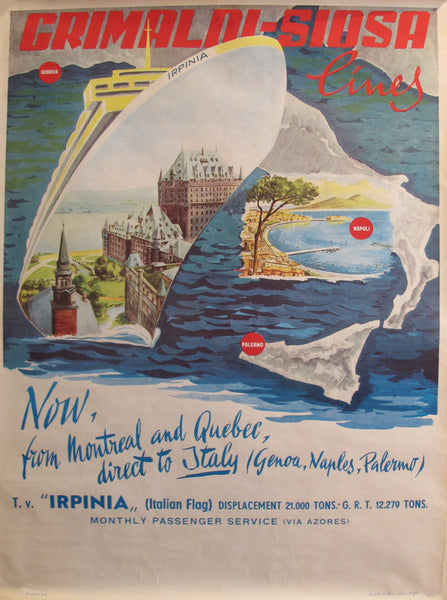 "1960's Original Vintage Italian Grimaldi Siosa Lines + Rosanna Schiaffino poster - ""Now, from Montreal and Quebec, direct to Italy"""