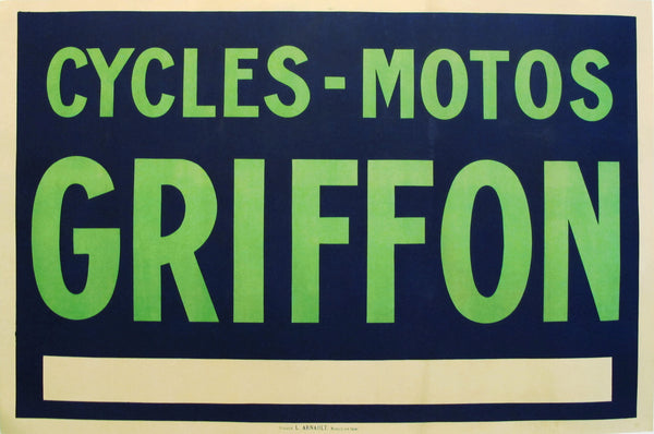 1900 Vintage French Griffon Cycling + Motorcycle Poster
