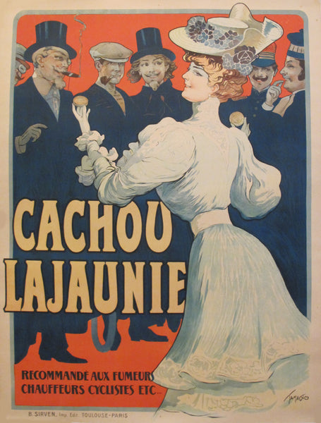 1900s Original French Belle Epoque Poster - Cachou Lajaunie