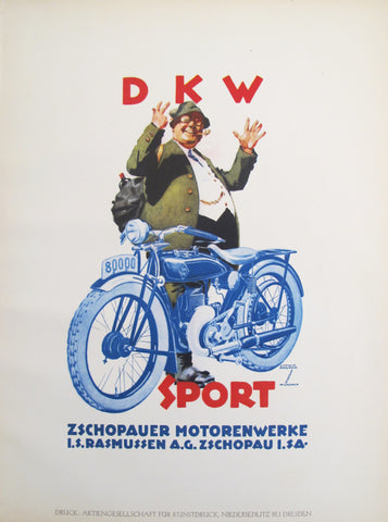 1926 Original German Art Deco Poster, DKW Sport Zschopauer Motorenwerke (Burgher with Bike)