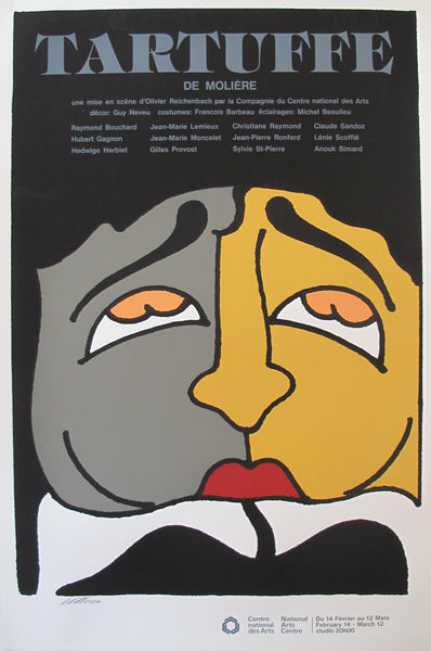 1977 Canadian Theatre Poster, Tartuffe, National Arts Centre