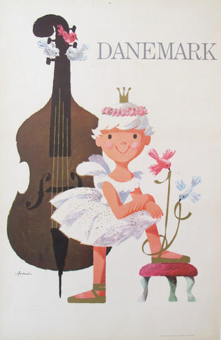 1960s Original Danish Travel Poster, Danemark Ballerina