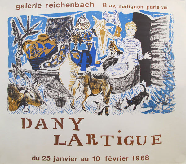 1968 Original French Exhibition Poster, Galerie Reichenbach - Lartigue, Dany