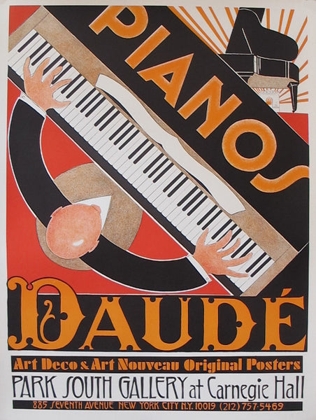 1980s Original French Art Deco Piano Poster, Pianos Daude