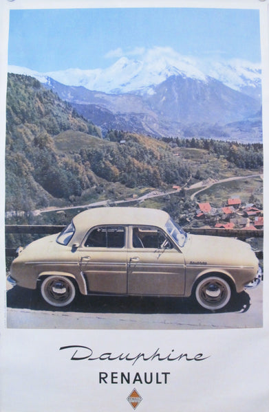 1950s Vintage French Car Poster, Renault Dauphine