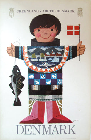 1960's Original Danish Travel Poster, Greenland Arctic Denmark