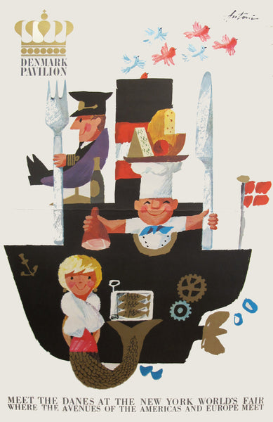 1964 Danish Poster, New York World's Fair