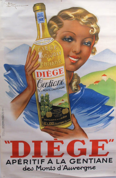 1936 French Art Deco Poster - Diege Aperitif a la Gentiane (unlined)