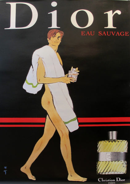 1979 Vintage Dior Perfume Advertisement, Eau Sauvage (towel)