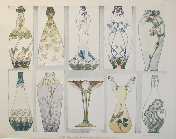 1901 Document du Decorateur, Art Nouveau Design Sheet #1
