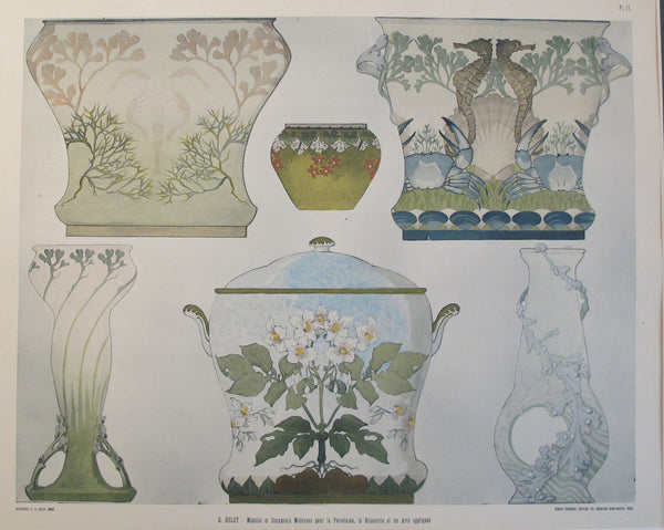 1901 Document du Decorateur, Art Nouveau Design Sheet #11