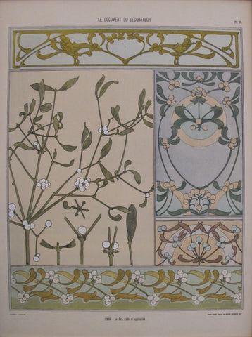 1901 Document du Decorateur, Art Nouveau Design Sheet #26