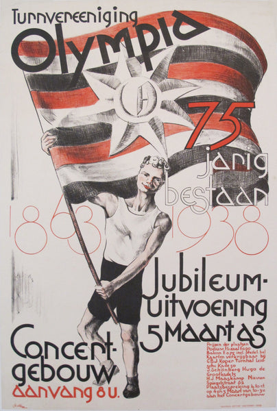 1938 Original Dutch Olympiad Celebration Poster - Anonymous