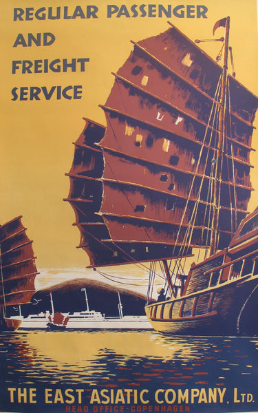 1950s Original Travel Poster, The East Asiatic Company, LTD (Regular passenger and Freight service)