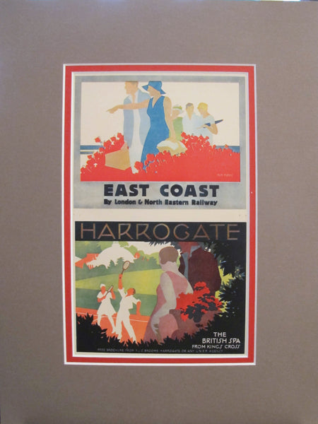 1920s Vintage Art Deco Mini Travel Poster, East Coast Harrogate