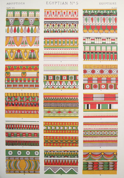 1910 Egyptian Decorator Prints #5 - The Grammar of Ornament by Owen Jones