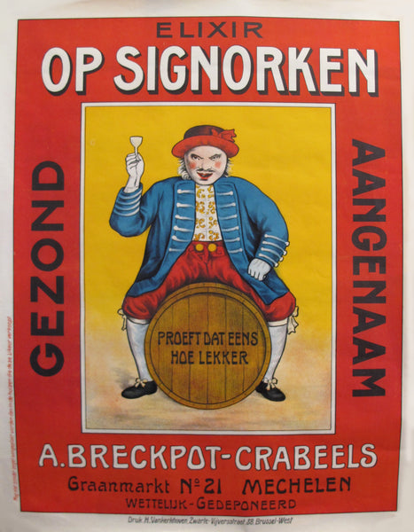 "1930's Original Vintage Belgium Alcohol Poster - Elixir ""Op-Signorken"" - Advertising Liquor"