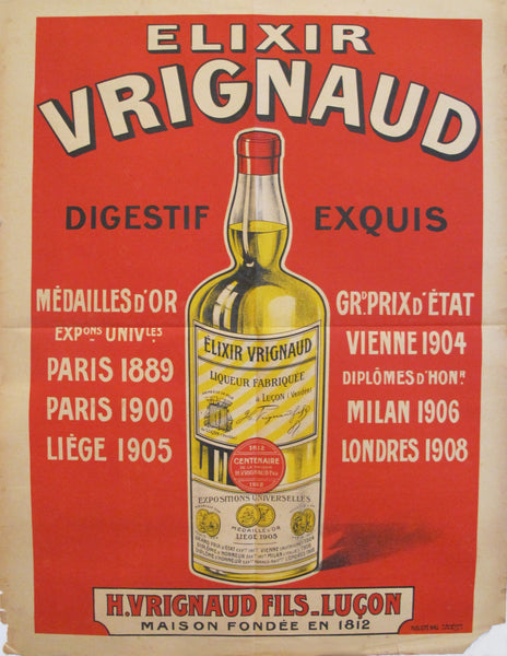 1910s French Wine Poster, Elixir Vrignaud