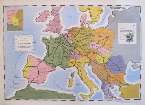 1949 Original Vintage French Travel Poster, European Railroad Map (Linen Backed)