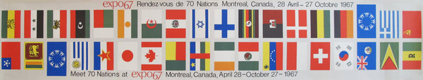 1967 Vintage Montreal Expo 67 Banners, Meet 70 Nations