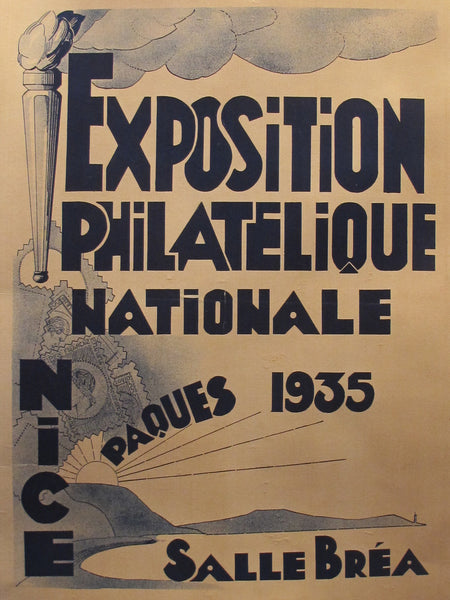 1935 Original French Exhibition Poster, Exposition Philathelique Nice