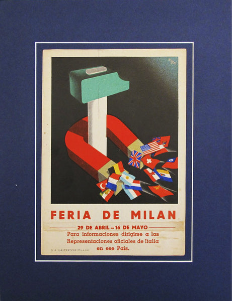 1940's Original Advertising Carton - Feria de Milan Italian carton