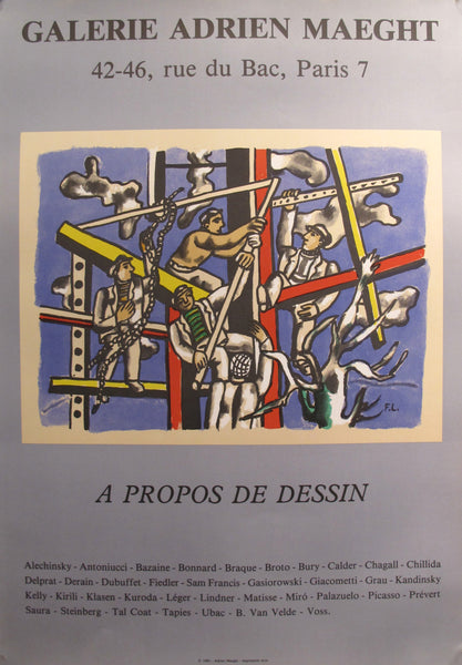 "1985 French Exhibition Poster - ""A Propos de Dessin"" by Fernand Leger - Galerie Adrien Maeght"