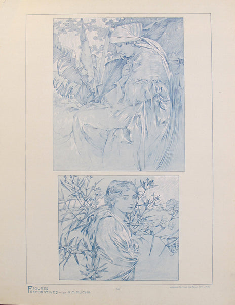 1902 Original Vintage French Art Nouveau Illustration - Figures Decoratives - A. Mucha