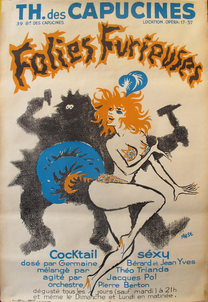 1960s Original French Theatre Poster - TH. des Capucines - Folies Furieuses by Mose