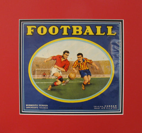 1920's Original Vintage Spanish Fruit Crate Label -  Football - Norberto Ferrer - Carcagente Espana