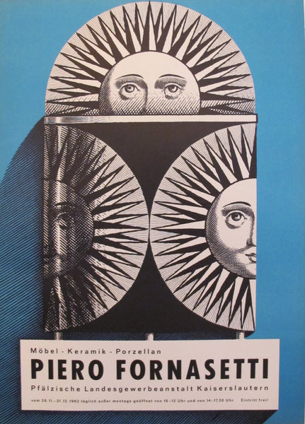 1962 Original German Exhibition Poster, Piero Fornasetti (blue)