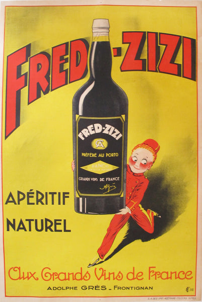 1932 Vintage French Art Deco Alcohol Poster, Fred Zizi