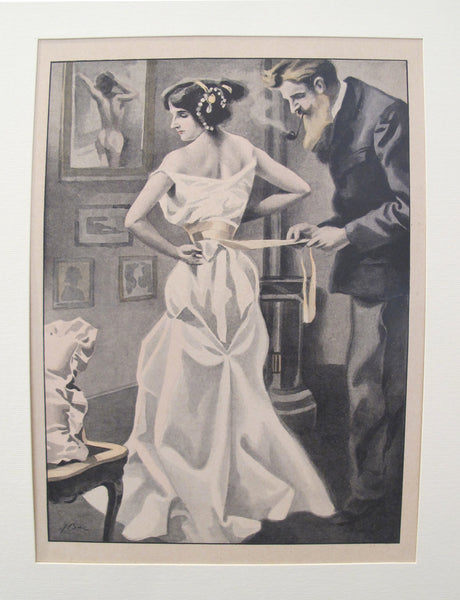 1900's Original Vintage French Boudoir lithograph (Plate 1)