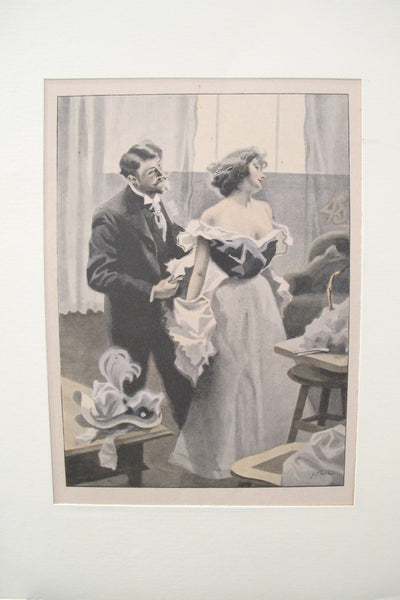 1900's Original Vintage French Boudoir lithograph (Plate 2)