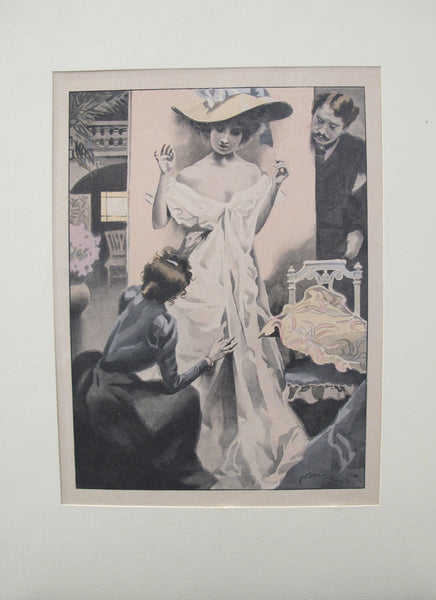 1900's Original Vintage French Boudoir lithograph (Plate 3)
