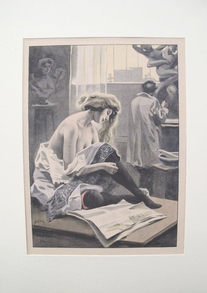 1900's Original Vintage French Boudoir lithograph (Plate 4)