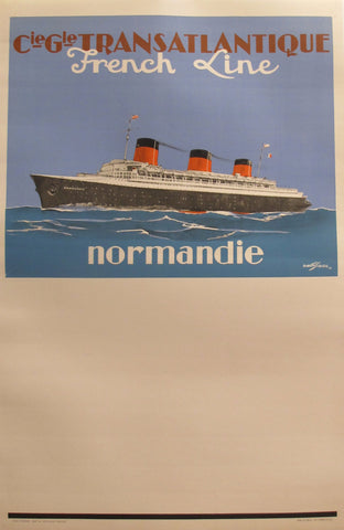 1930s Vintage French Art Deco Travel Poster, French Line Transatlantique SS Normandie Ocean Liner