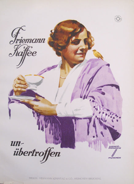 1926 Original German Art Deco Poster, Friemann Kaffee (Woman with Purple Shawl, Yellow Budgie)