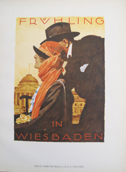 1926 Original German Art Deco Poster, Früling in Wiesbaden (German Travel Poster)