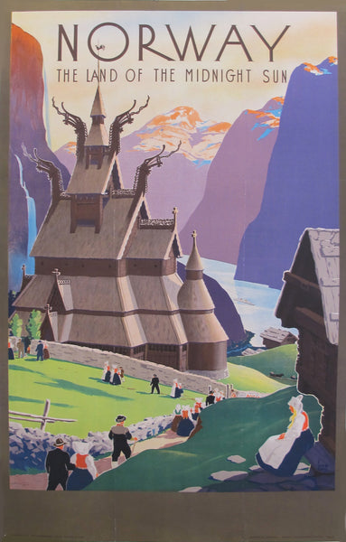 1939 Vintage Norwegian Travel Poster, Land of the Midnight Sun