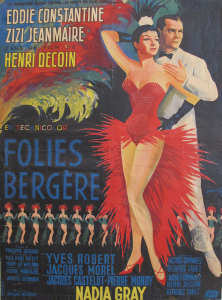 1956 Original French Movie Poster, Folies Bergere