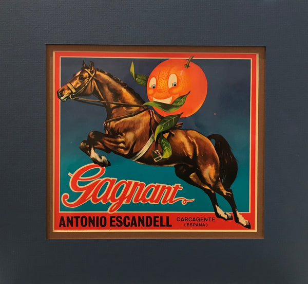 1920's Original Vintage Spanish Fruit Crate Label - Gagnant - Antonio Escandell - Carcagente (Espana)