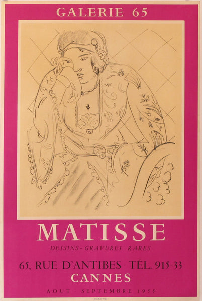 1955 Original Exhibition Poster, Galerie 65, Matisse, Drawings and Rare Engravings