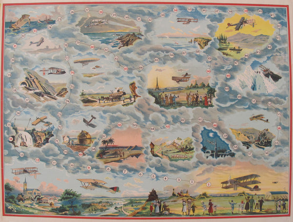 1900 French Antique Board Game, Planes - Saussine