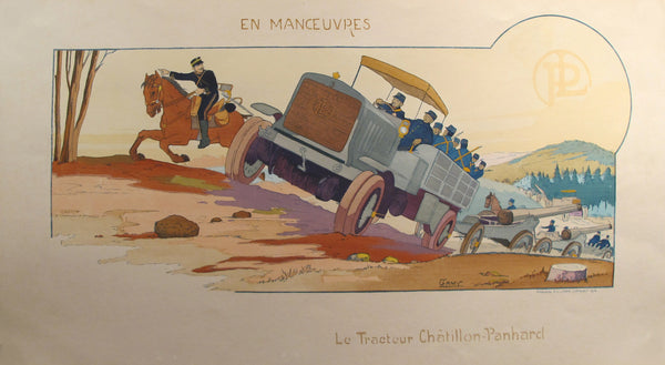 1914 Original French Art Deco Poster, En Manoeuvres/Tracteur Chatillon - Gamy
